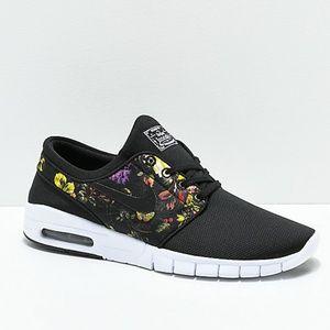 Nike SB Janoski Air Max Black & Floral Skate Shoes